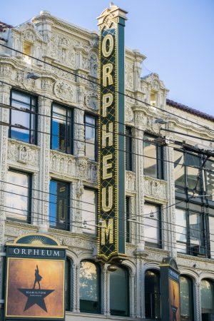 Hamilton sign at the Orpheum theatre in San Francisco